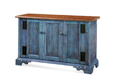 Turning Point chose a blue finish for its new Piedmont buffet, part of its Summer House Portfolio collection which debuts at market.