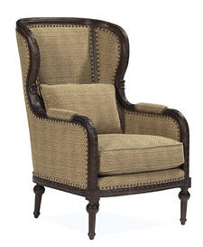 Bernhardt?s upholstery lineup for market includes 10 new fabric-covered collections under the Casual Opulence name and three new motion groups. This classic wing chair is covered in a handsome hounds tooth woven.