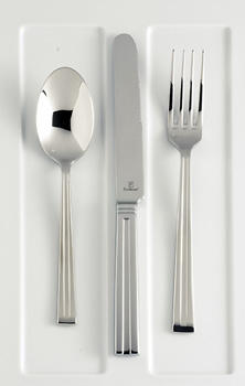 Inspired by the arts and craft movement?s simplicity of design and hand-crafted attention, Fortessa?s Mission 18/10 stainless steel flatware brings classic, angular forms to the table.