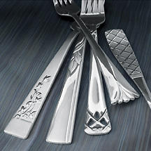 Gibson is introducing several 18/10 stainless steel flatware patterns, retailing for $69.99 for a 20-piece set. Patterns include, from left, Haricot, Whisp, Cruces, Trompe and Latisse.