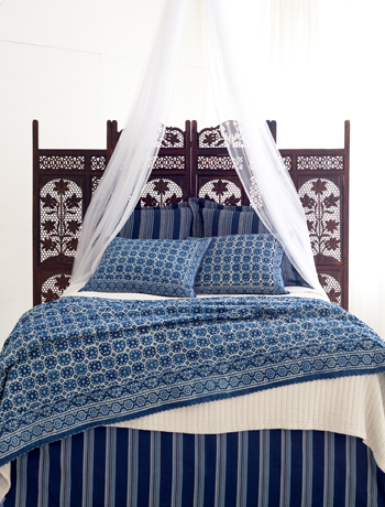 Pine Cone Hill Resist Octagon Indigo bedding