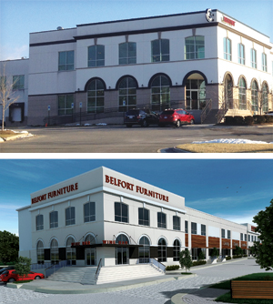 Belfort Furniture exterior old and new