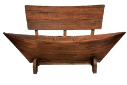 "Groovystuff's ""boat bench"" in teak is an example of the naturalistic looks occasional goods buyers will see this week."