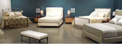Wesley Allen is showing about 15 metal beds, which showcase various styles including these models shown here.