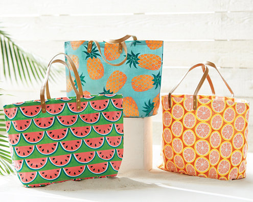 Mud Pie Fruit Jute totes