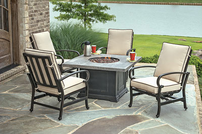 Square Romance Fire Pit W/Stone Top Fire Pit Is Equipped With An Electronic  Ignition