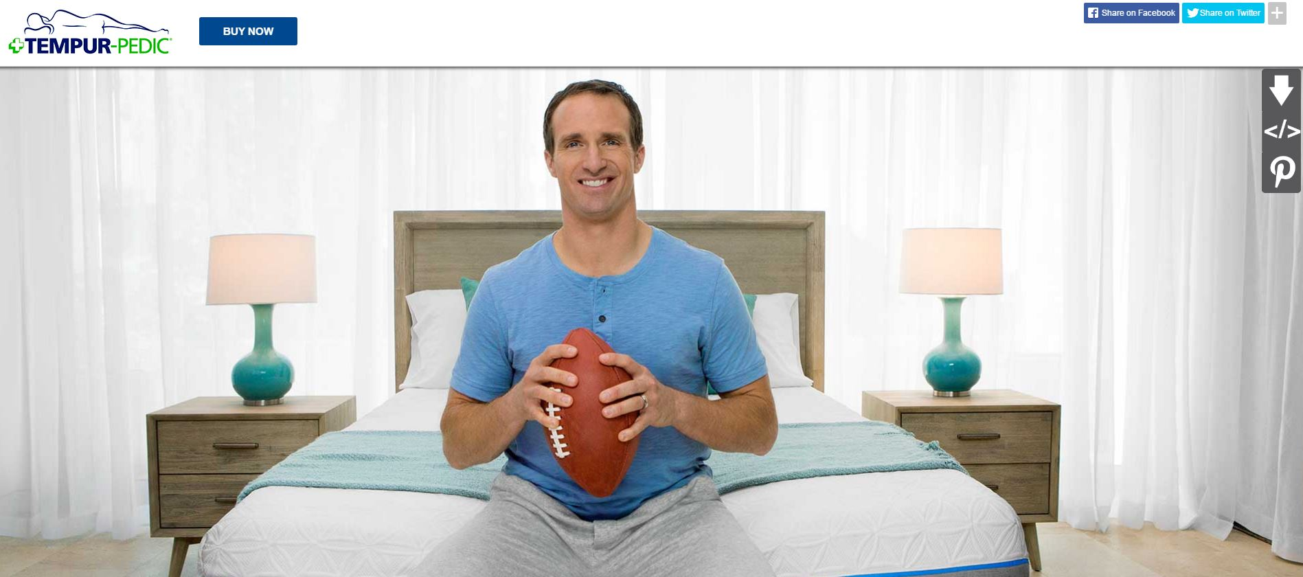 Drew Brees with Tempur-Pedic