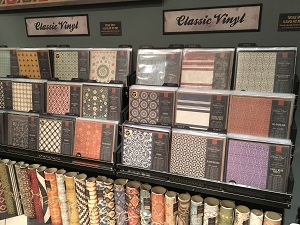 Spicher & Co. Vintage Vinyl floorcloth albums at High Point Market