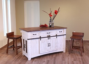 This Kitchen Island By International Furniture Direct Has A Two Tone Brown And Distressed White Finish It Retails At 599