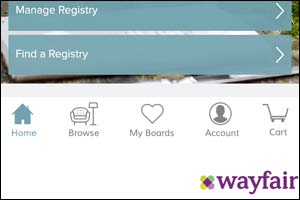 Wayfair bridal registry app