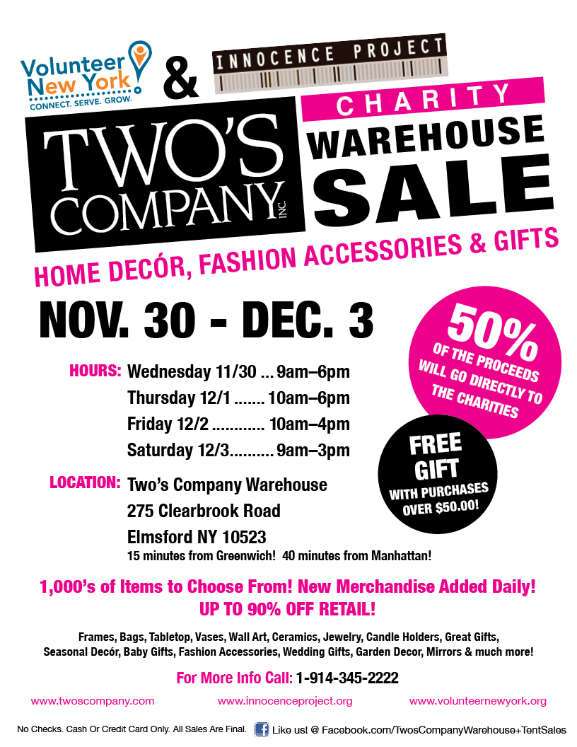 Twos company to host annual charity warehouse sale gifts dec twos company negle Gallery