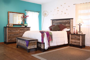 Unique, affordable and with an authentic rustic-reclaimed charm, the Antique bedroom features quality construction like mortise and tenon on all case pieces, English dovetail on drawer fronts, microfiber-lined drawers, ball bearing glides and a multi-step, hand brushed and laquered smooth finish.