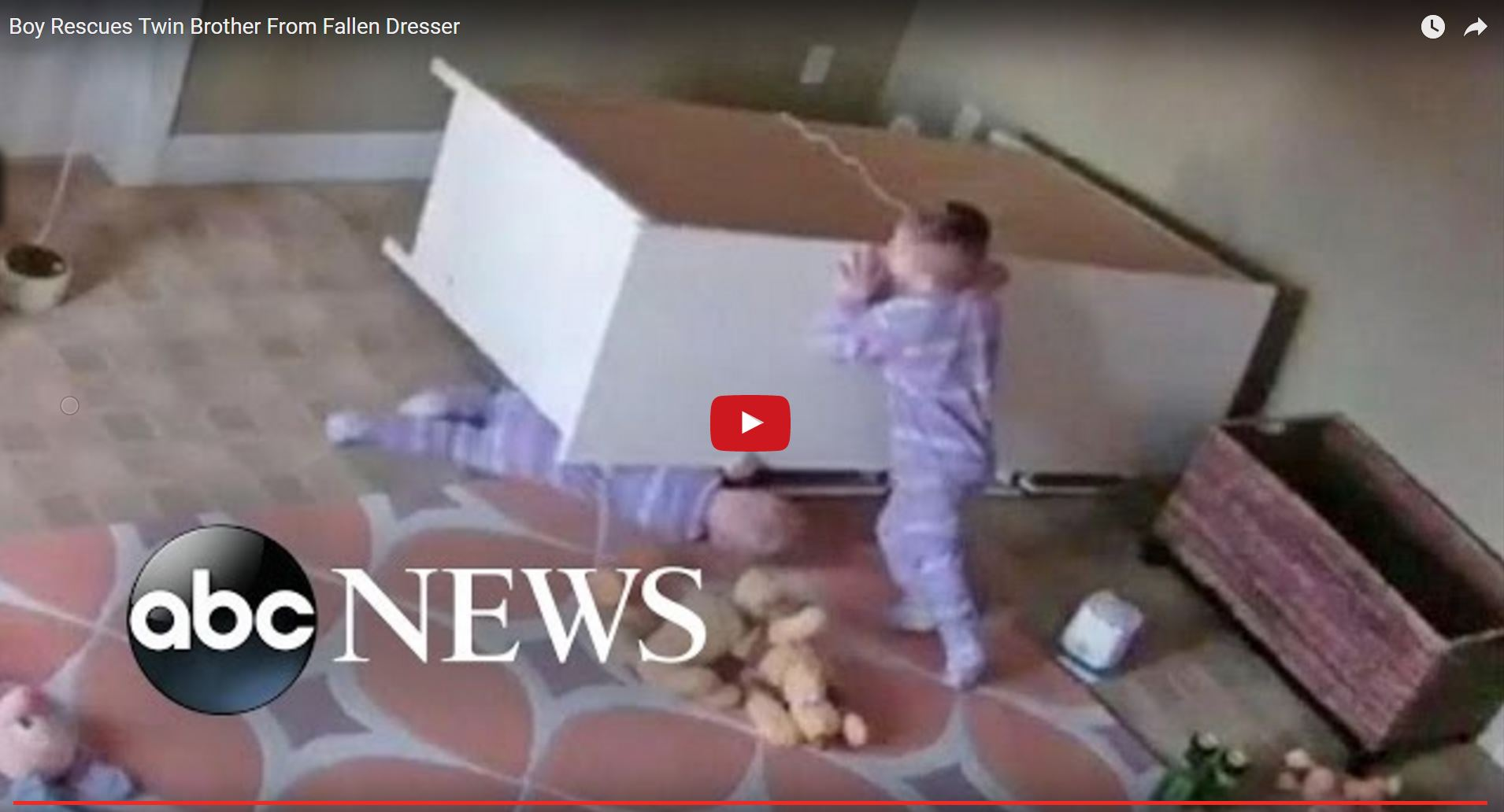 Twin brother rescues brother from fallen dresser