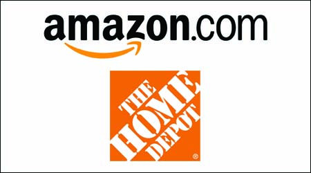 Amazon and Home Depot logos