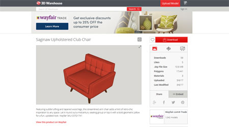 Wayfair 3D model library SketchUp