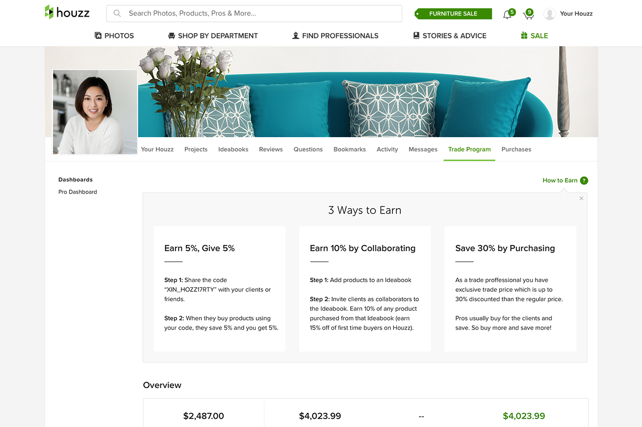 Houzz launches discount program for industry professionals for House trade in program