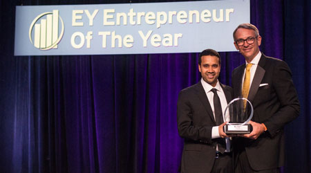 Surya's Satya Tiwari, left, received EY's Entrepreneur of the Year award for the Southeast Region on June 8.