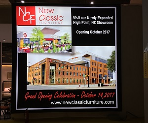 New Classic Furniture Advertises Its New High Point Market Showroom.