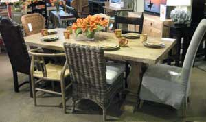 Furniture Classics showed the Manor House trestle table at Atlanta. Made with reclaimed elm, the 87-inch table retails at $2,400.