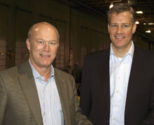 Mike Huber, left, Belfort Furniture, Dulles, Va., with Stephen Caudle, aspenhome's Salesperson of the Year.