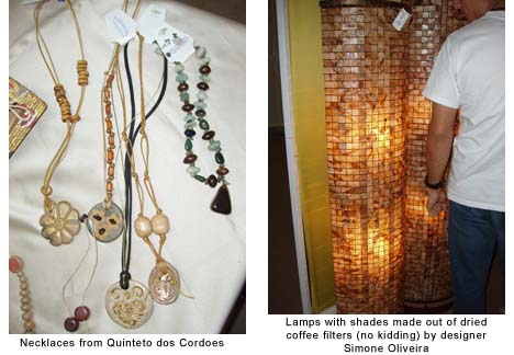 Necklaces from Quinteto dos Cordoes and Lamps with shades made out of dried coffee filters (no kidding) by designer Simone Oliveira