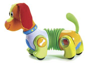 Follow Me Fred is an interactive pup that begins walking when touched and stops a short distance away. The accordian-style body allows Fred to turn to follow a crawling baby. From Tiny Love, $19.95.