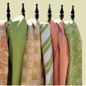Phifer's GeoBella fabrics, from left: Mehindi, Rock Solid, Tandoor, Picnic, Spice Island and Heartland.