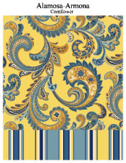 Swavelle's Alamosa and Armona patterns coordinate florals with stripes in cornflower colors.