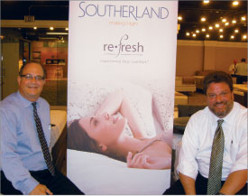 Steve Russo, left, and Scott Miller, both of Southerland, get comfortable on new Refresh latex beds.