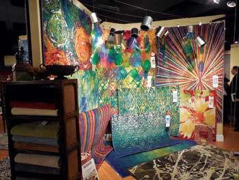 Loloi Rugs drew Atlanta marketgoers' attention with colorful rug displays like this one.