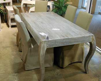 The Warwick table by Stein World is solid acacia and retails at $699. It is shown with companion occasional pieces.