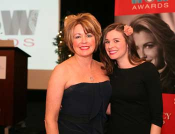 Leadership Award recipient Kim Knopf, left, founder, of Innovative Mattress Solutions, is with her daughter, Karrie Knopf, also of Innovative Mattress Solutions. The award recognizes the contributions of a woman over age 40 who has demonstrated successful leadership in her company, WithIt and the home furnishings industry.