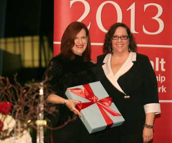 Lisa Hanly, left, of Furniture Brands international with  Education Award recipient Cheminne Taylor-Smith, High Point Market Authority. The Education Award is given for efforts to educate associates, retailers and consumers about home furnishings.