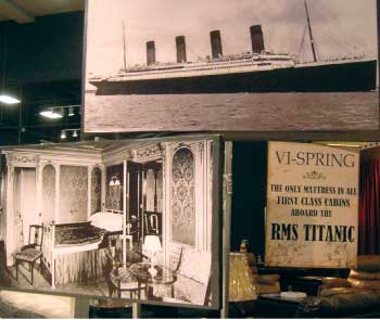 A display notes that Vi-Spring mattresses outfitted the first class cabins on the Titanic.