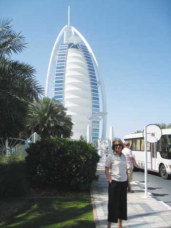 Jutta Hughes stands in front of the couple's lodgings in Dubai.