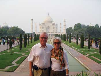 Gary and Jutta Hughes visit the Taj Mahal in India