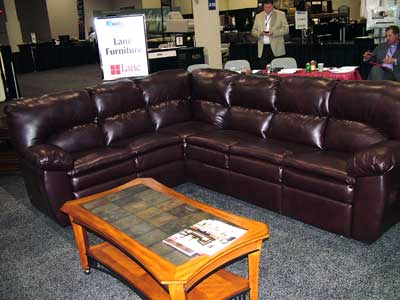 Lane's The Ryder two-piece motion sectional, with a USB charging station and hidden storage in both arms, retailing for about $1,499, was a hit for the new Nationwide Marketing Group supplier partner at the buying group's PrimeTime show in Las Vegas.