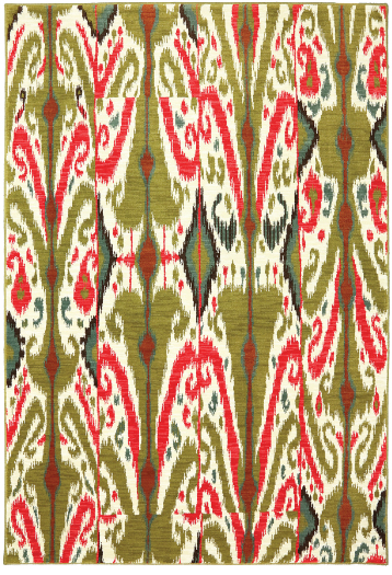 Olive green and poppy red come together in an ikat kaleidoscope of fashion in this Archipelago rug from the Panache collection.