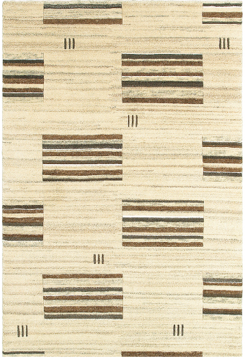 Kasteli from the company's Natural collection is a hand-knotted rug of plush virgin wool that features a geometric Deco-inspired design in a neutral tone.