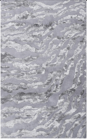 This Kiawah Silver rug in the Maison Luxe collection is constructed of wool and silk and has a trending monotone coloration of shimmering silver. Suggested retail in 5 by 8 is $799.