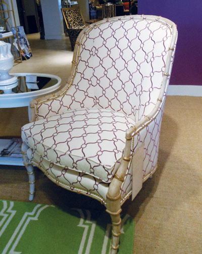 Century's Larkin chair showcases gold leaf accents and a shell finish. Retail is $2,435.