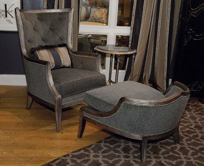 The Comtesse chair and draft ottoman is featured in the new Biltmore for Your Home collection by Fine Furniture Design. Retail is $2,730 for the chair and $1,725 for the ottoman.