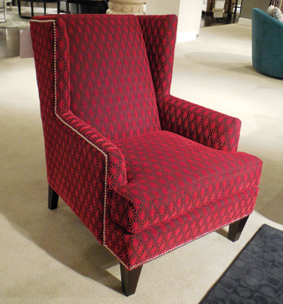 The Lauren chair by Broyhill features a striking red starburst velvet fabric. Retail is $679.