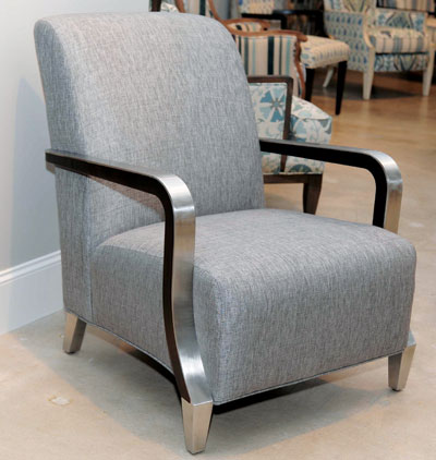 Sam Moore's Enzo chair is shown in metallic threaded fabric with metal arms. Retail is $1,299.