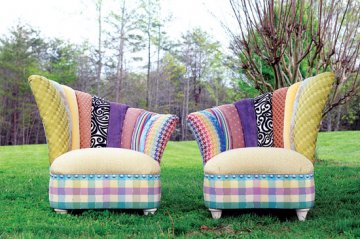 SALMAGUNDI - The HiLo Channel Back Chairs by designer Jill Towery feature mixed short ends and scrap fabrics along with Rainbow by Victor. Retail is $4,500 for a pair.
