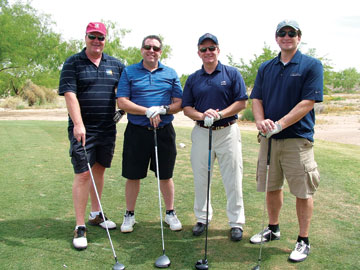 Todd Miller, left, Dave Hansen, Rick Anderson and Chad Colony, all with Tempur-Pedic North America.