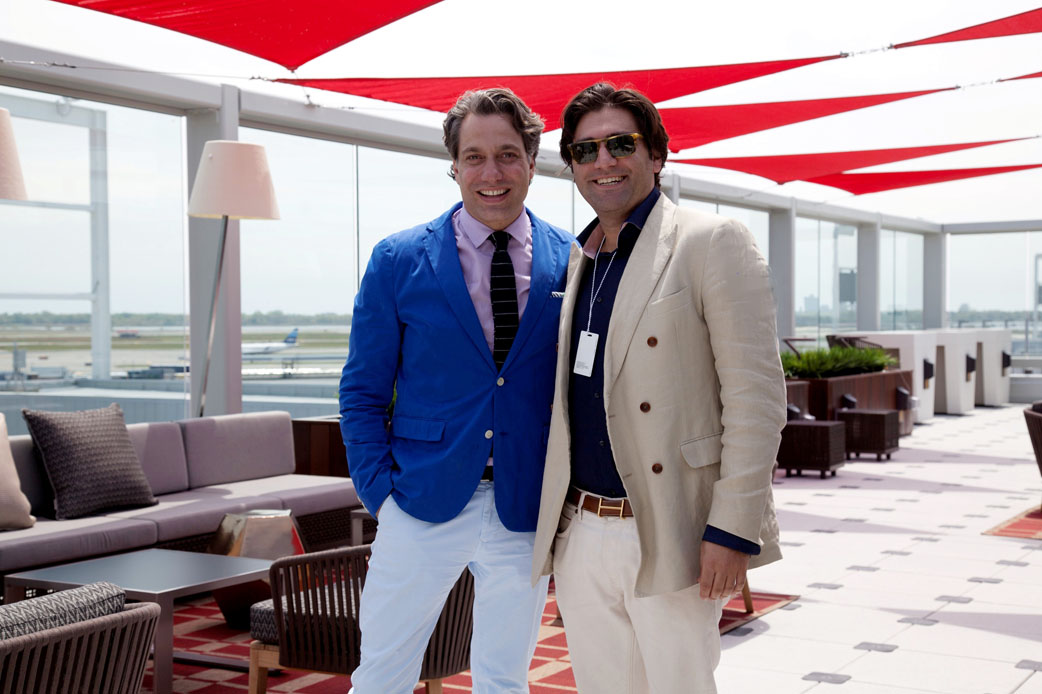 Designer Thom Filicia and Jonathan Yaraghi of Safavieh at the new 2000-square-foot Sky Deck at Delta Sky Club at the new Terminal 4 at John F. Kennedy International Airport in New York.