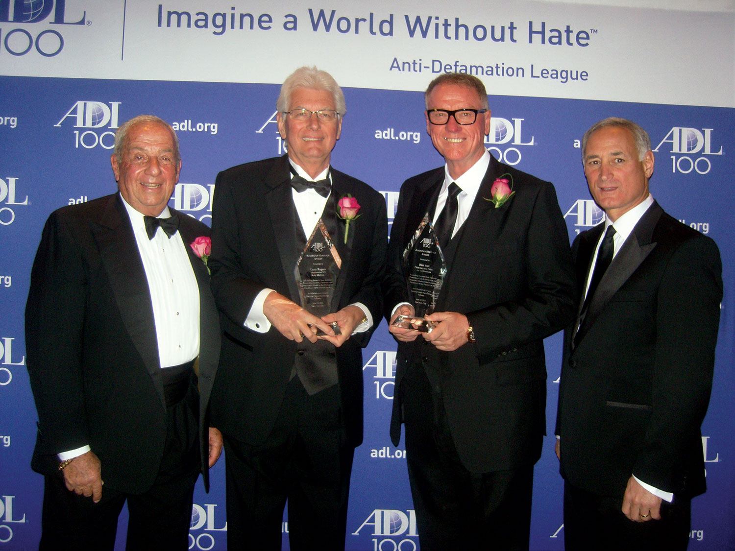 Norman Waxman, left, Norman Waxman LLC; ADL honorees Larry Rogers, Sealy, and Kim Yost, Art Van Furniture, Warren, Mich.; and Neil Goldberg, Raymour & Flanigan, Liverpool, N.Y.