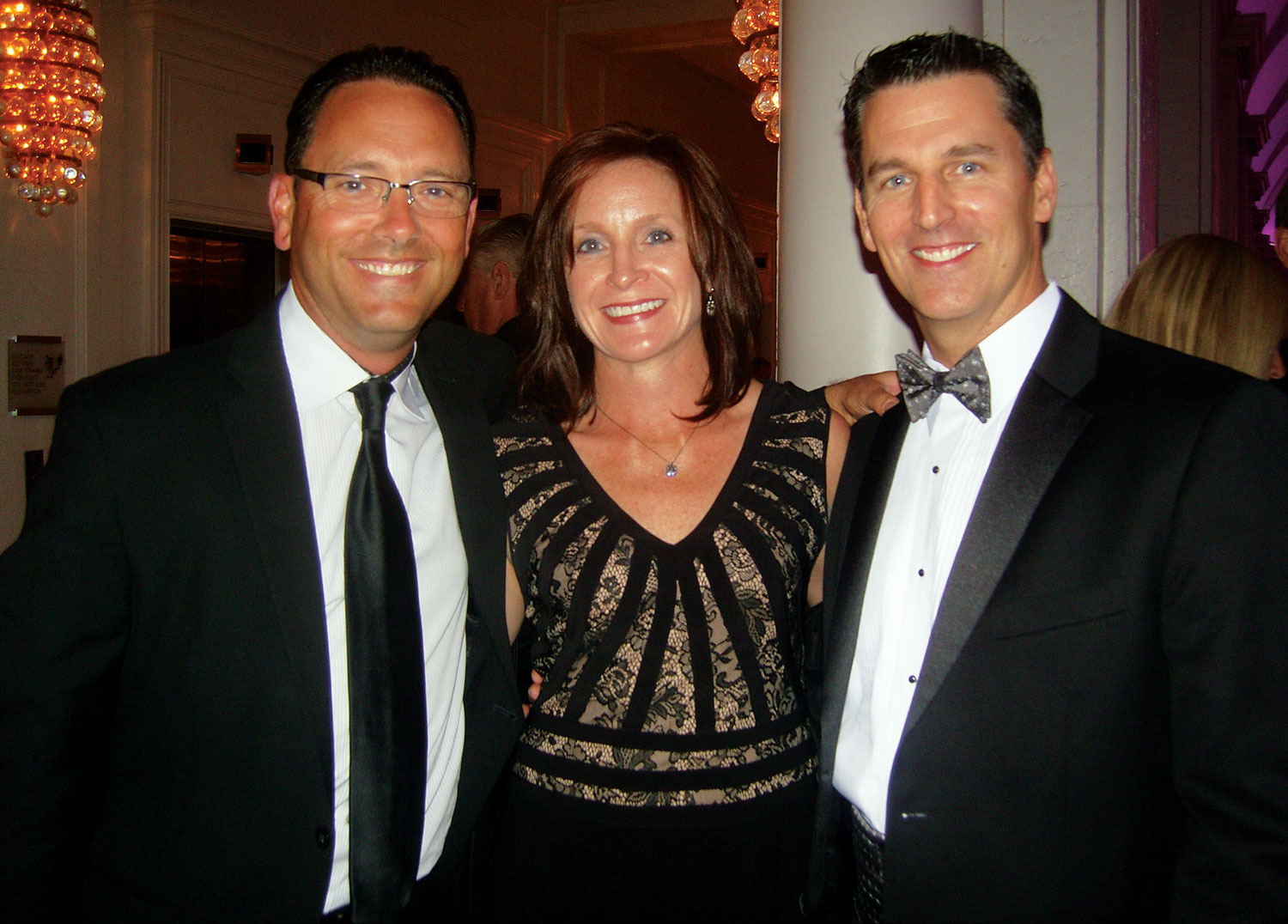 Mark Quinn, left, Leggett & Platt; April and Craig McAndrews, Mattress Firm, Houston.