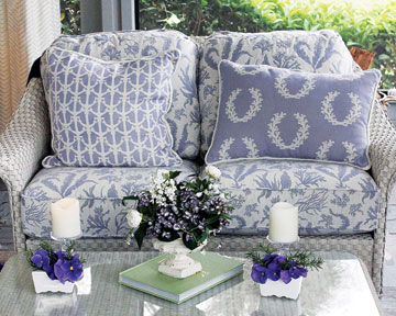 Loveseat shows three Tesoro del Mare patterns in Sea Lavender, one of her current favorite colors of the season.